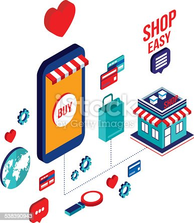 Flat 3d isometric design mobile payment online shopping for E commerce mobili