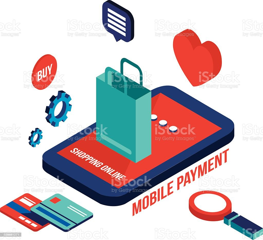 Flat 3d isometric design mobile payment online shopping for 3d flat design online