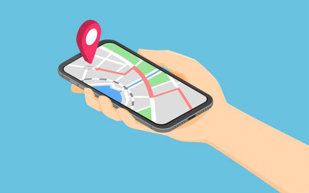 Flache 3d isometrische Hand hält Smartphone mit Punkt auf der Karte Anwendung – Vektorgrafik