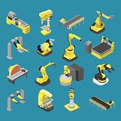 Flat 3d isometric heavy robotics industry machinery icon set concept web infographics vector illustration. Woodworking power-saw ench jigsaw manipulator robot robotized. Creative people collection.