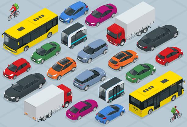 stockillustraties, clipart, cartoons en iconen met vlakke 3d isometrische hoge kwaliteit stadsvervoer auto-icoon set. bus, fietskoerier, sedan, bestelwagen, vrachtvrachtwagen, off-road, fiets, mini en sportauto's. stedelijk publiek en vrachtvehihle - airport pickup