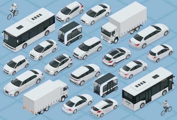 płaski izometryczny zestaw ikon samochodów transportu miejskiego 3d wysokiej jakości. autobus, kurier rowerowy, sedan, van, ciężarówka, off-road, rower, mini i sportowe samochody. miejskie wehihle publiczne i towarowe - rzut izometryczny stock illustrations