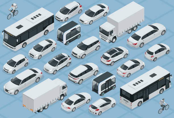 Flat 3d isometric high quality city transport car icon set. Bus, bicycle courier, Sedan, van, cargo truck, off-road, bike, mini and sport cars. Urban public and freight vehihle Flat 3d isometric high quality city transport car icon set. Bus, bicycle courier, Sedan, van, cargo truck, off-road, bike, mini and sport cars. Urban public and freight vehihle. hatchback stock illustrations
