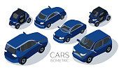 Flat 3d isometric high quality city transport icon. Passenger car, off-road car, sedan, electric car. Back and  front view. Set on a white background
