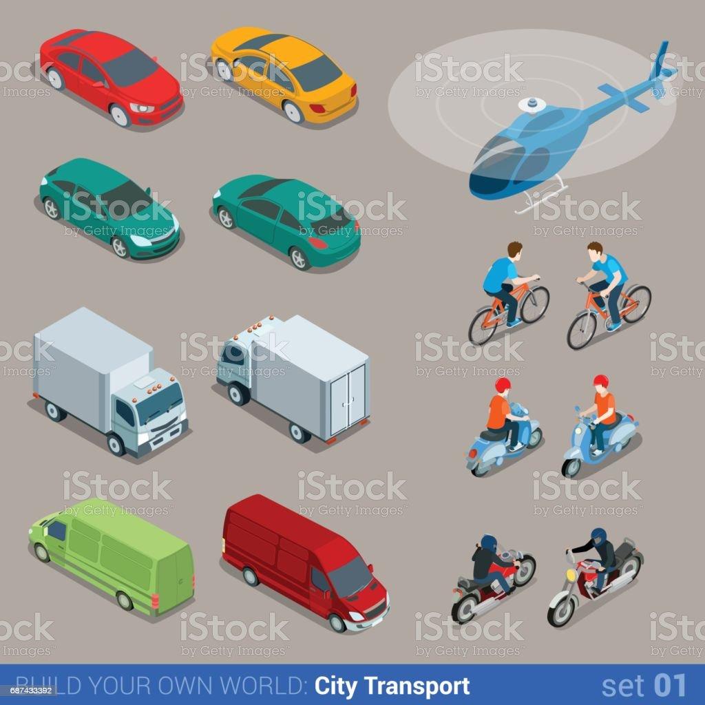 Flat 3d isometric high quality city transport icon set. Car van bus...