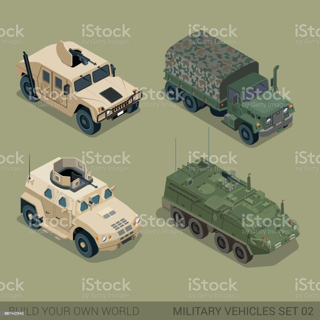 Flat 3d Isometric High Quality Military Road Transport Icon
