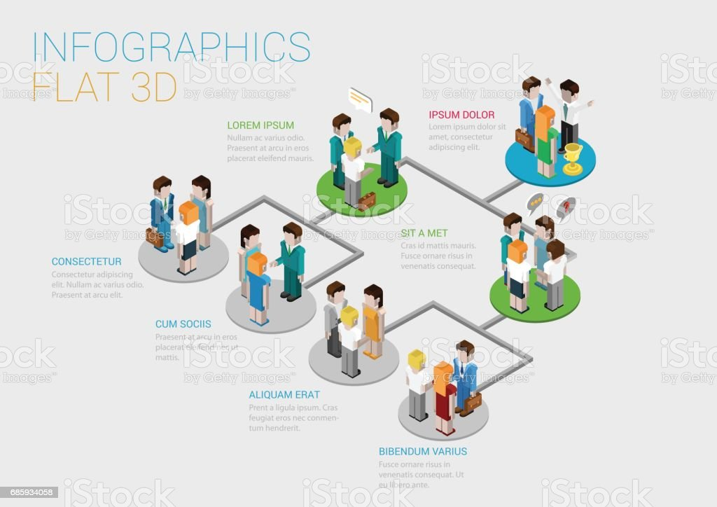 flat 3d isometric infographic concept of company corporate department team diagram structure web. Black Bedroom Furniture Sets. Home Design Ideas