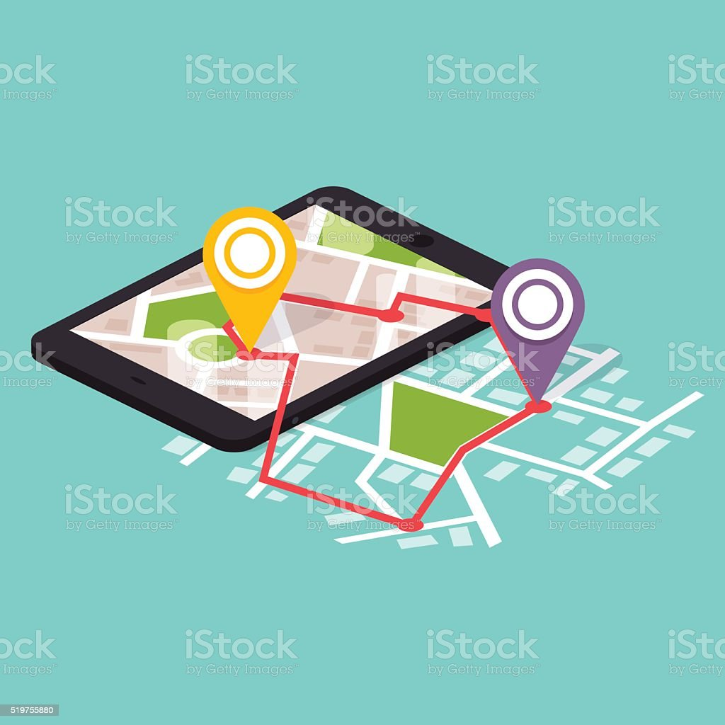 Flat 3d Isometric Mobile Navigation Maps Infographic Paper