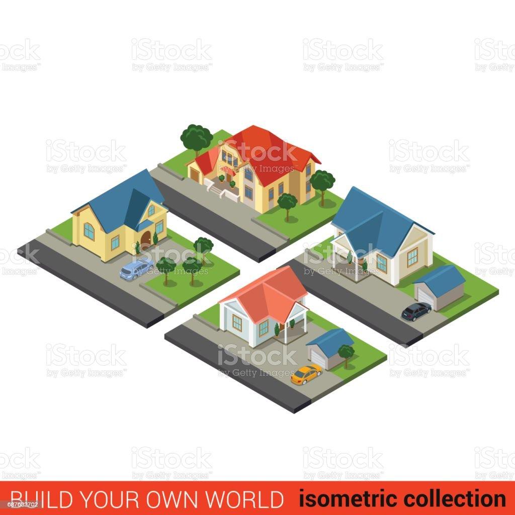 Flache 3d Isometrische Set Familie Land Haus Hof Garten Auto Baustein  Infografik Werkstattkonzept. Erstellen Sie