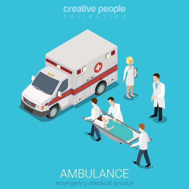 Flat 3d isometric style ambulance emergency medical evacuation accident concept web infographics vector illustration. Orderlies carry patient stretcher. Creative people website conceptual collection. vector art illustration