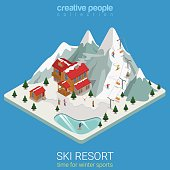 Flat 3d isometric style ski resort winter mountain sports travel concept web infographics vector illustration. Piece hilly land snowboard track ice lake. Creative people website conceptual collection.