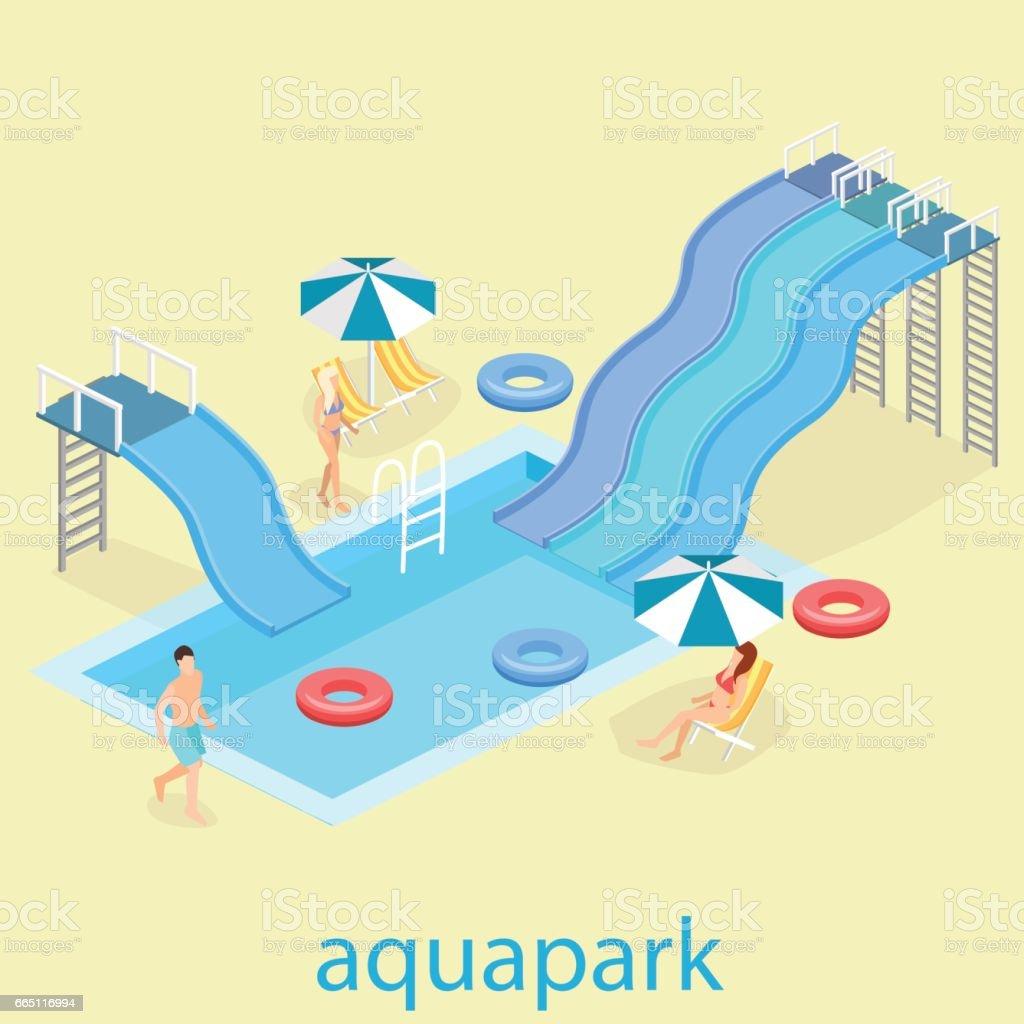 flat 3d isometric summer aquapark. vector art illustration