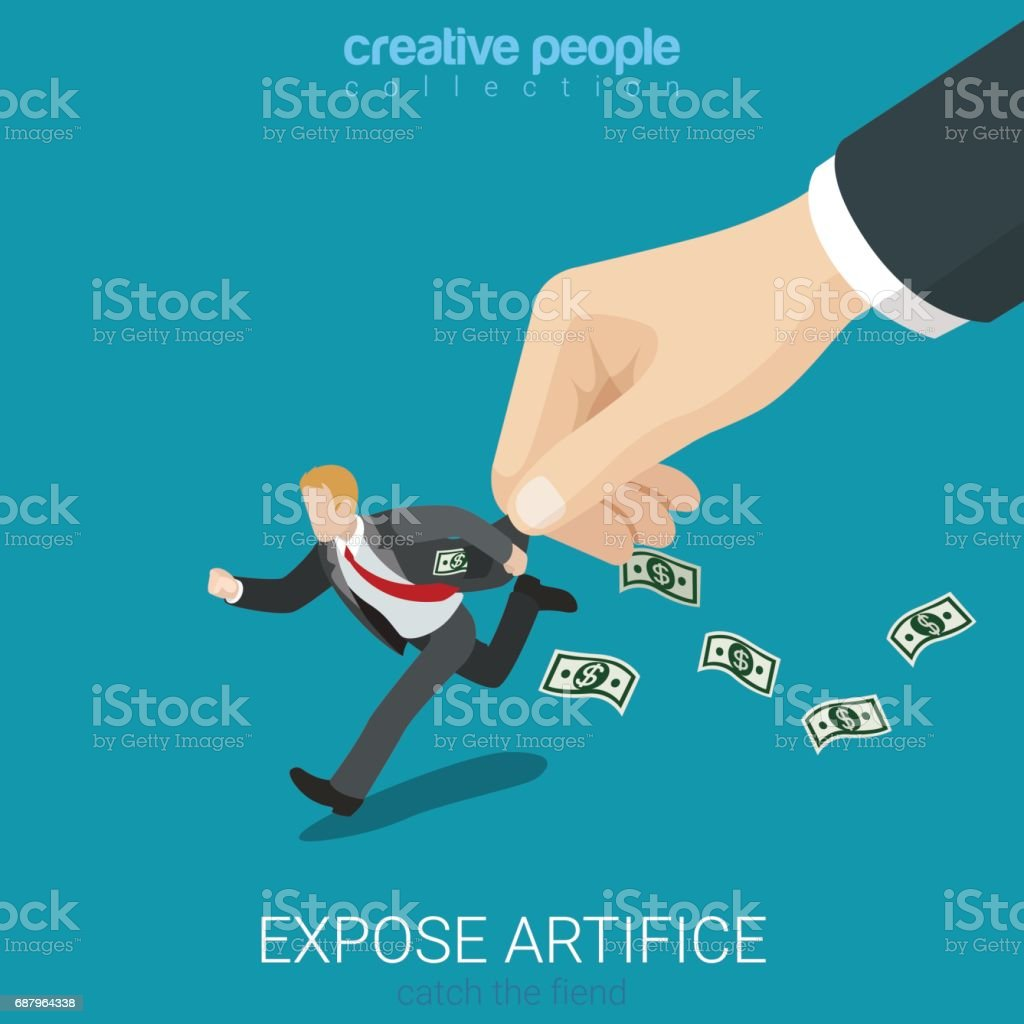 Flat 3d isometry isometric expose artifice catch fiend concept web infographics vector illustration. Big hand catch running . Creative people collection. vector art illustration