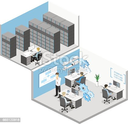 istock Flat 3D vector isometric concept illustration of office software developer and teamwork. . 665120918