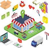 Flat 3d web isometric e-commerce, electronic business, online shopping