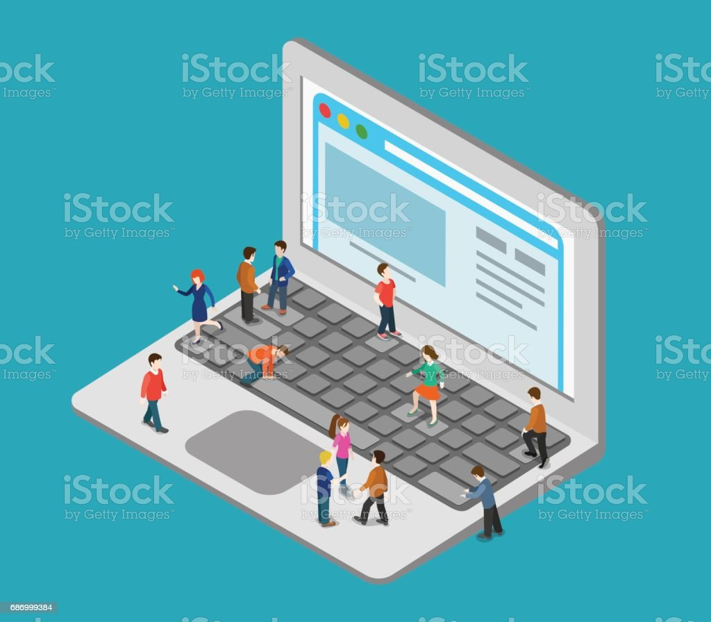 Flat 3d web isometric little people on huge oversize laptop infographic concept vector. Mini human pressing big computer button keys, surf browsing webpage. Creative people collection. vector art illustration