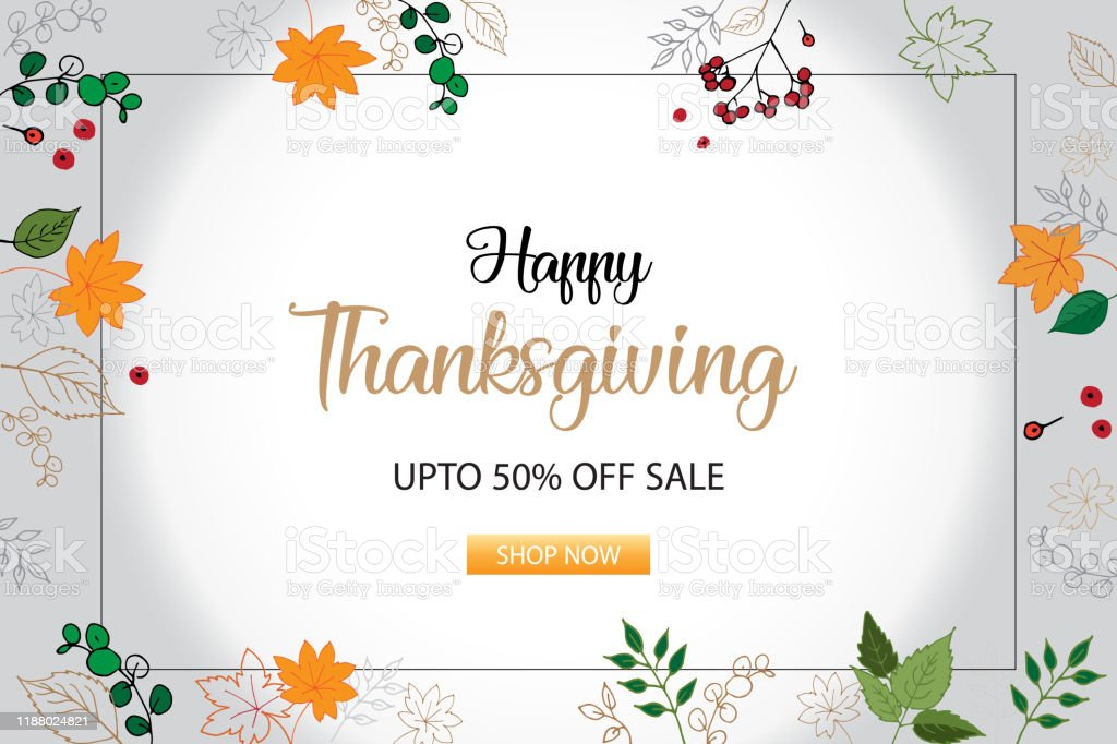 Flat 50 Off Offers Sale For Thanksgiving Day With Autumn Elements Vector Banner Stock Illustration Stock Illustration Download Image Now Istock