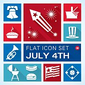 A vector illustration of Independence Day icons.