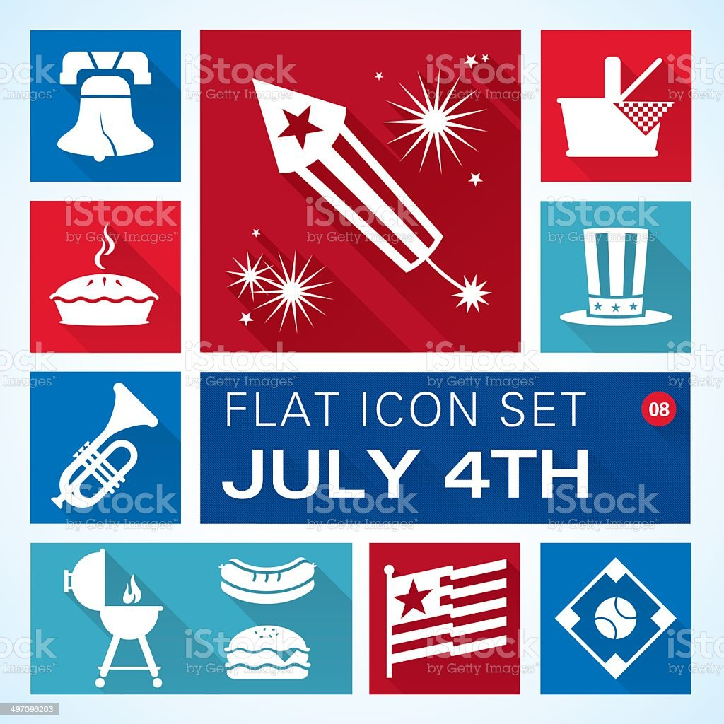 Flat 8 Independence Day vector art illustration