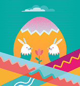 flat abstract easter illustration with two bunnies and colorful pattern