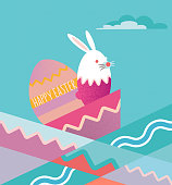 flat abstract easter illustration with bunny and egg and colorful pattern