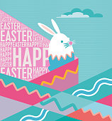 flat abstract easter illustration with bunny and colorful pattern and text effect