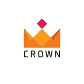 Flat abstract geometric golden royal crown logo vector isolated