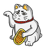 2D flat, Abstract kawaii character, Vector design lucky cat is holding gold with welcome posture, creative illustration cute cartoon object on white background, Cute & Kawaii conceptual.