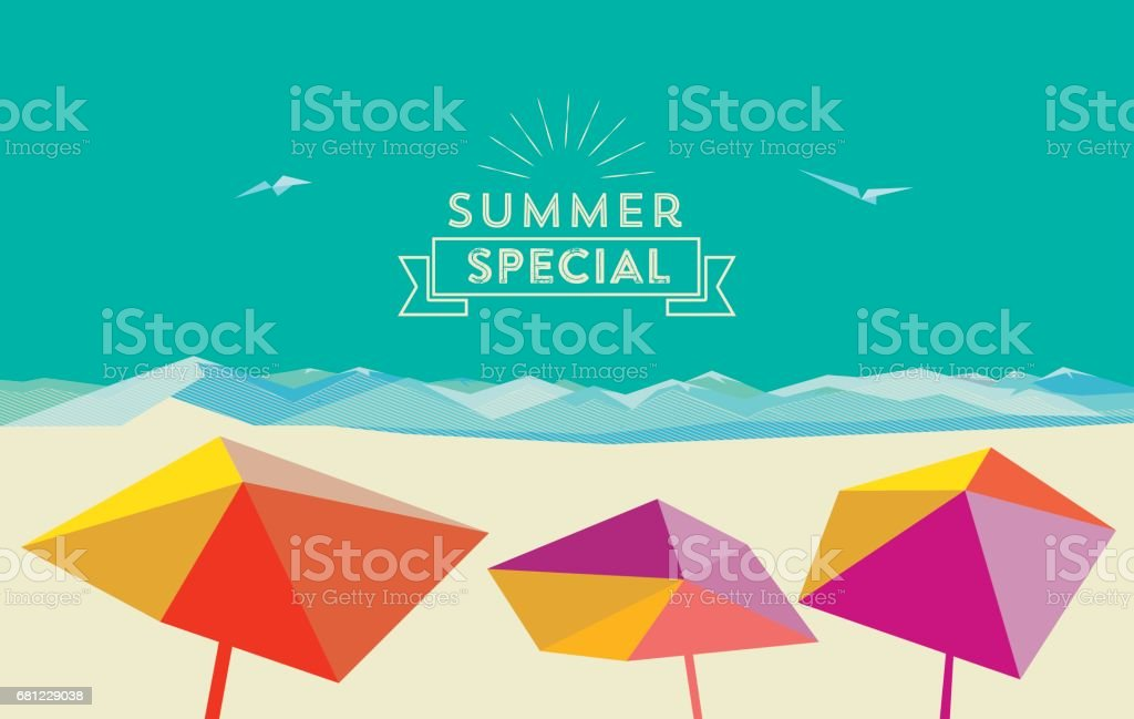 flat abstract summer beach illustration with parasols and vintage badge