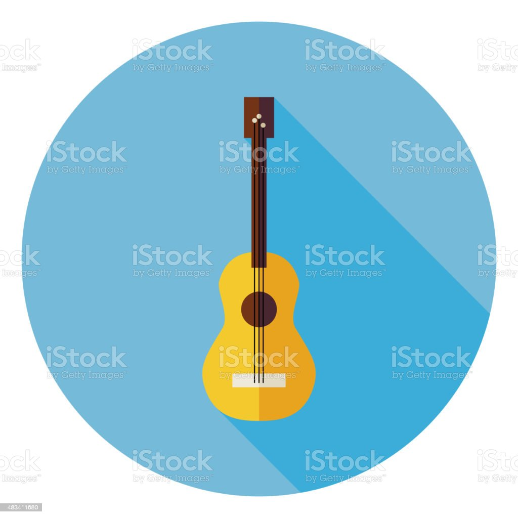 Flat Acoustic String Guitar Circle Icon with Long Shadow vector art illustration