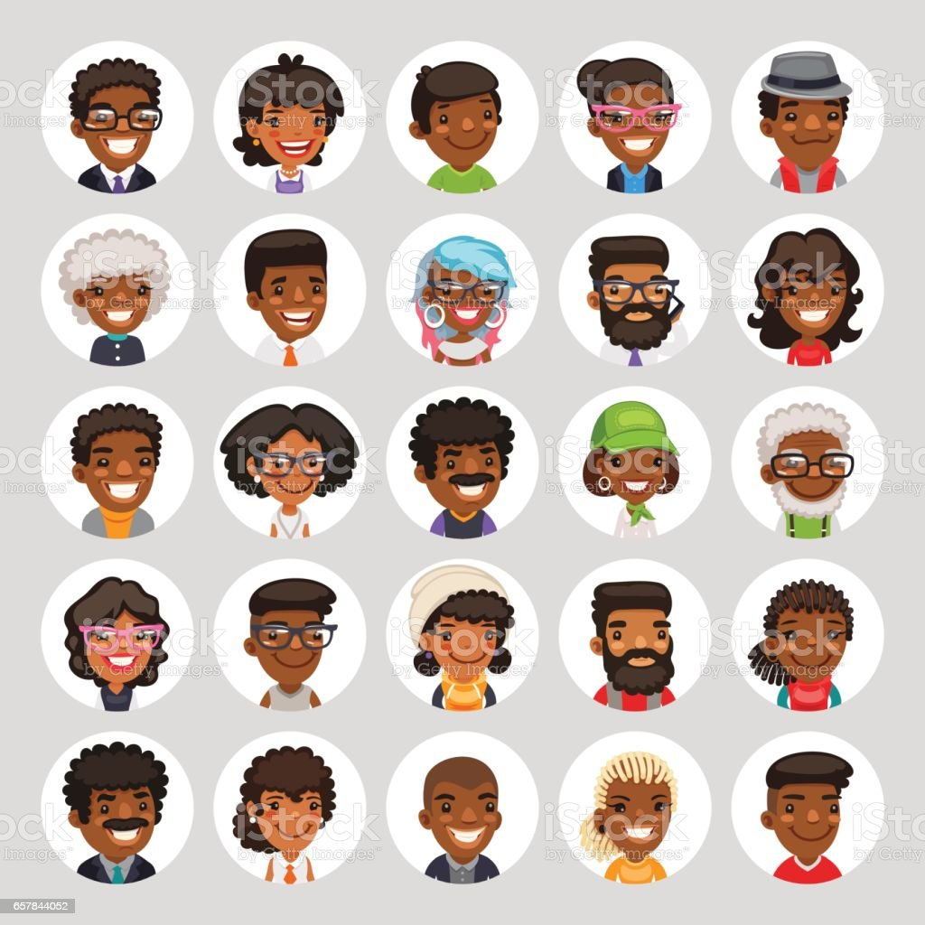Flat African American Round Avatars on White vector art illustration