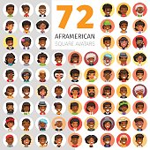 Big set of 72 flat african american round avatars. Cartoon people. Clipping paths included.