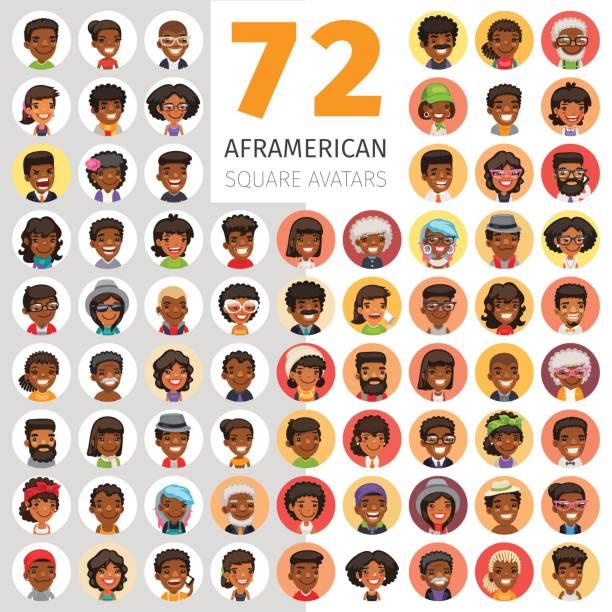 ilustraciones, imágenes clip art, dibujos animados e iconos de stock de plano americanos africano avatares redondeos - africano americano