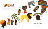 Flat african traditional elements template with lion elephant African woman and Papuan faces palm baobab trees tribal mask vases Africa map vector illustration