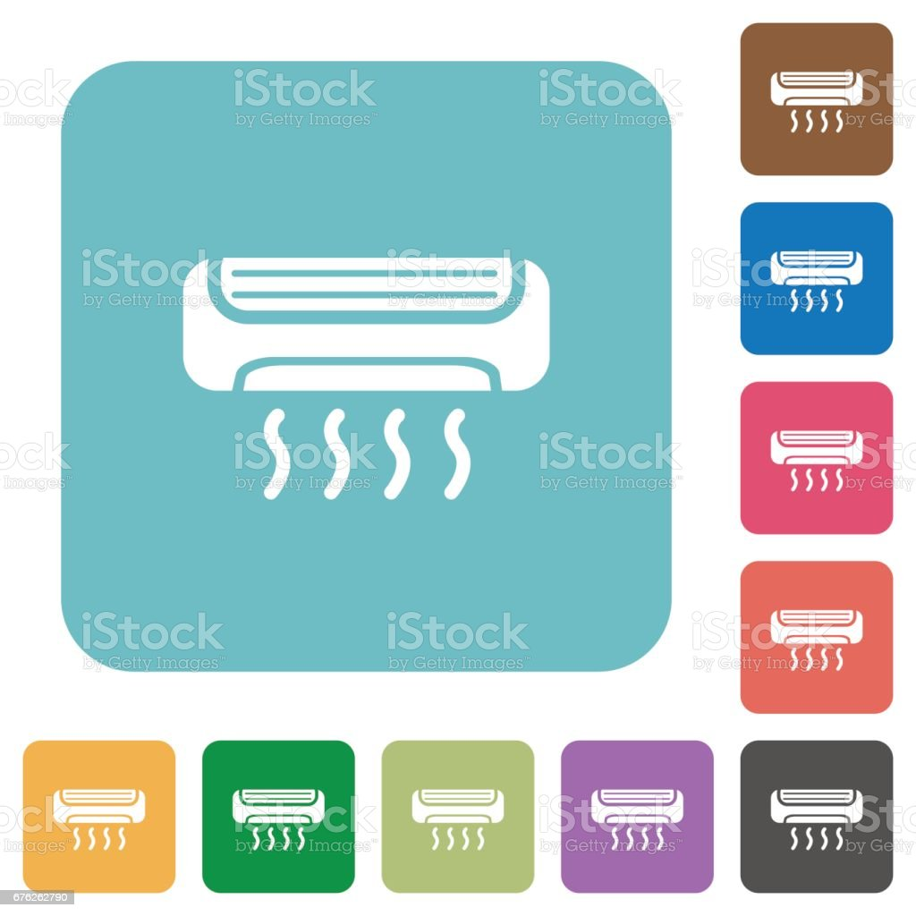 Flat air conditioner icons vector art illustration