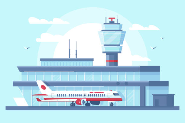 Flat airplane in airport on runway near building with tower. Flat airplane in airport on runway near building with tower. Concept plane vehicle with people, air trip. Vector illustration. airport designs stock illustrations
