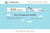 Flat airplane with 404 error notification