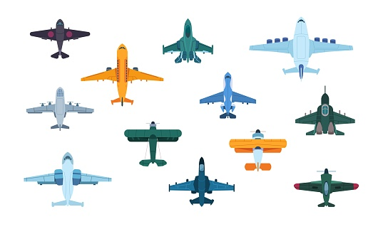 Flat airplanes. Top view of military jet aircraft and civil turbofan aviation planes, transport aviation. Vector isolated planes