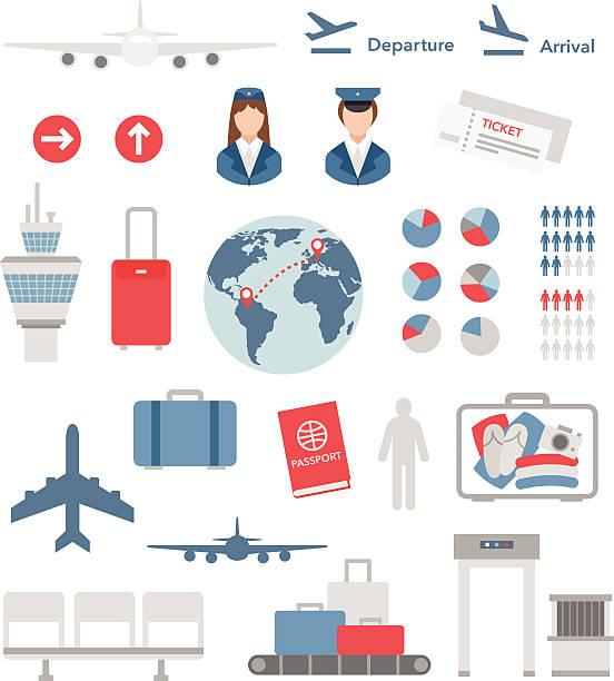 illustrazioni stock, clip art, cartoni animati e icone di tendenza di aeroporto di piatto infografica elementi e icone vettoriali - sedili aereo