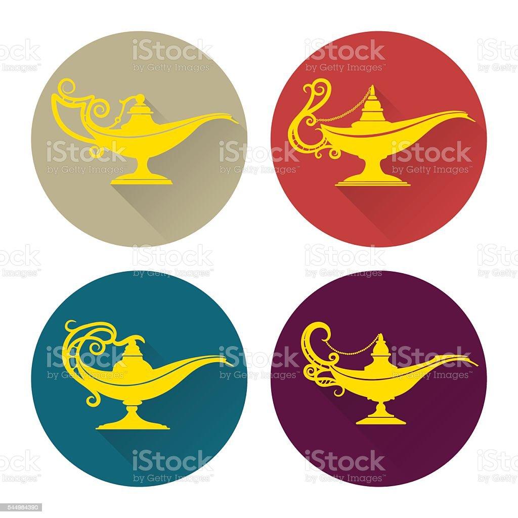 Flat aladdin lamp icons set vector art illustration