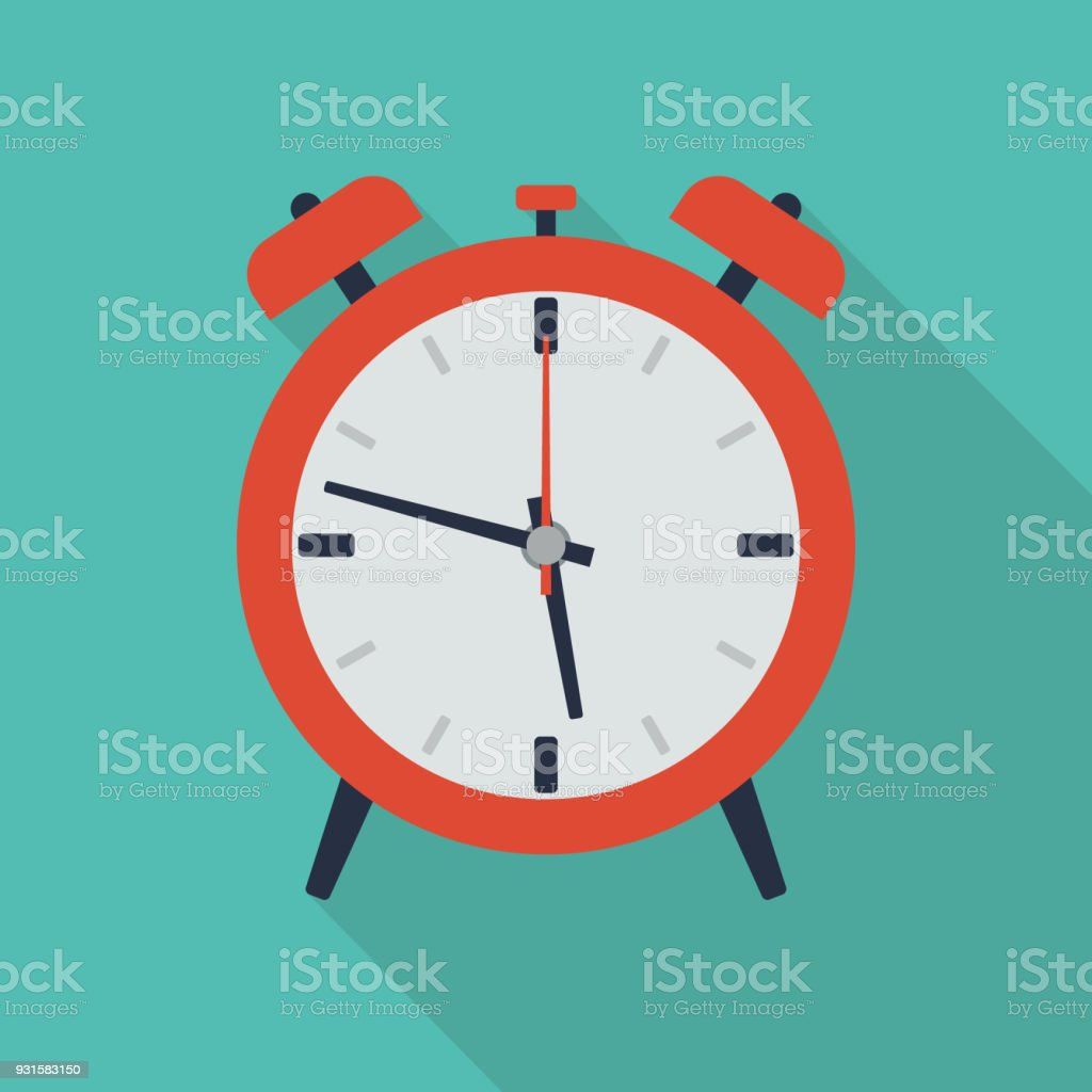 Flat Alarm Icon vector art illustration