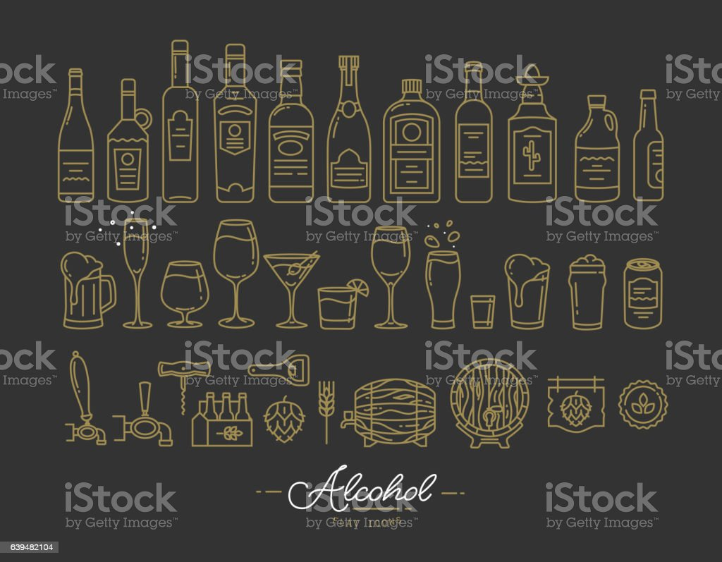 Flat alcohol icons gold vector art illustration