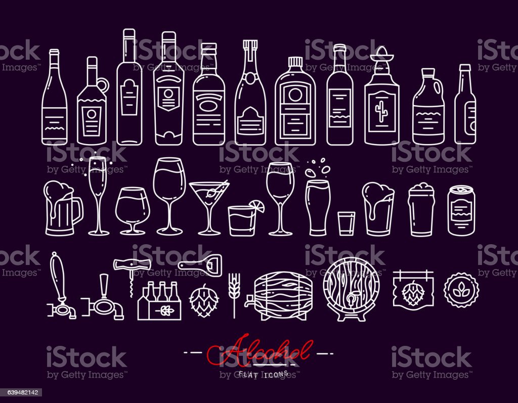 Flat alcohol icons violet vector art illustration