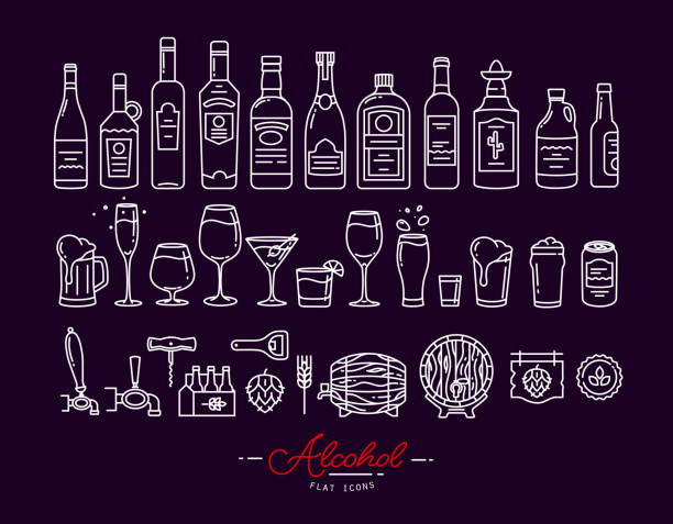 flat alcohol icons violet - alcohol drink silhouettes stock illustrations