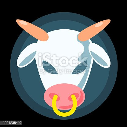 istock Flat alien cow head concept logo. Cartoon white animal with black evil eyes vector illustration on backdrop. Funny simple character. Ufo symbol sticker. Paranormal T-shirt print design 1224238410