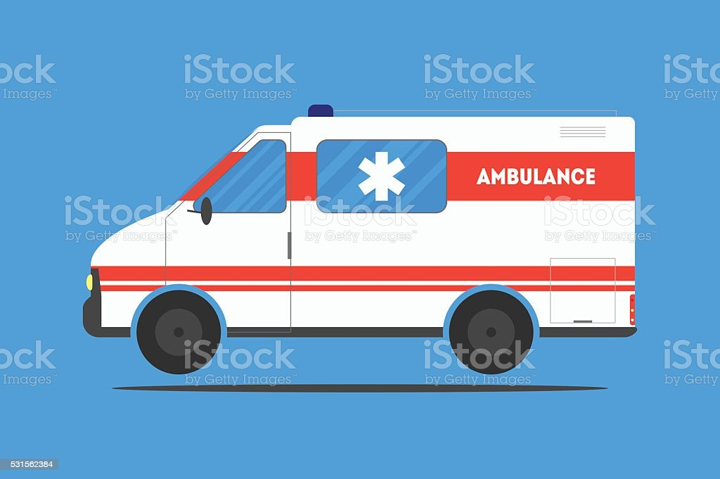 Flat ambulance car vector art illustration