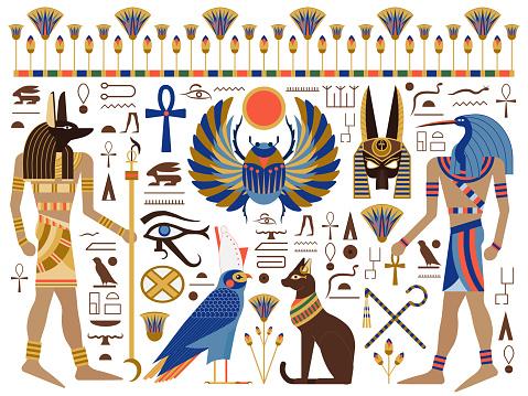 Flat Ancient Egyptian Symbols and Gods Set
