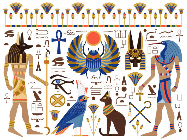 Flat Ancient Egyptian Symbols and Gods Set Egypt mythology set with egyptian gods, symbols and hieroglyphs. Including Bast, Horus, Anubis, Thoth, sacred winged scarab, crook and flail, eye of Horus, ankh cross and lotus ornament. ancient egyptian culture stock illustrations