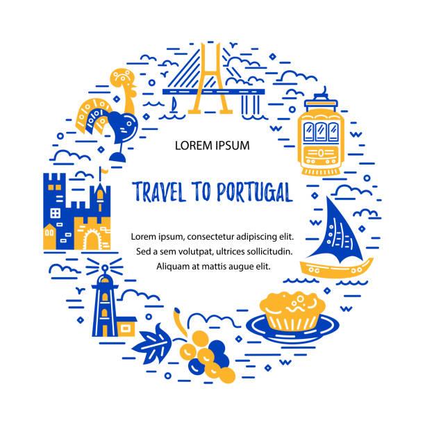 ilustrações de stock, clip art, desenhos animados e ícones de flat and line style circle frame with symbols of portugal - eletrico lisboa