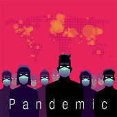 Flat and modern pandemic poster or cover design with people wearing mask.